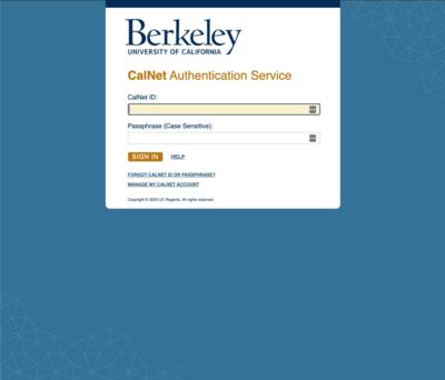 CAS CalNet Authentication Service Screenshot
